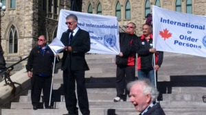 Herb John, President of National Pensioners Federation speaking at the October 1 Rally.